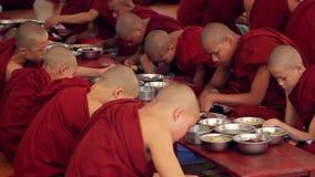 Burmese monks in the city of Bagan. Myanmar, Bagan. 24.11.2013  Trapeza of the monks. Burmese monks in the city of Bagan. Culture of Myanmar. Religion of stock video footage