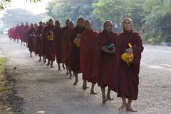 Burmese Monks Morning Alms Stock Photography