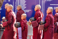 Burmese monks queueing for meal Royalty Free Stock Photo