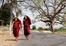 Burmese monks walking on street at Mingun village in Mandalay, Myanmar Stock Image