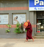 Burmese monks walking on street in Yangon Stock Photography