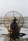 Inle Lake, Myanmar, Burmese Intha Fisherman. Intha fisherman on boat on Inle Lake, Myanmar Royalty Free Stock Photos