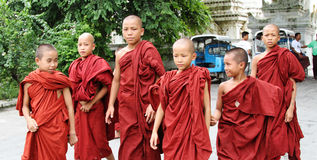 Burmese novice boys in Mandalay. MANDALAY, MYANMAR - MAY 23, 2014 - Burmese novice boys in Mandalay. Myanmar is the most religious Buddhist country in terms of stock image