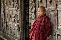 Burmese novice, young monk at Mandalay.  stock photos