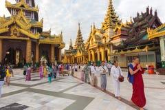 Burmese people praying Buddha Stock Image