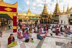Burmese people praying Buddha Stock Images