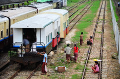 Burmese people waiting train and selling product a Stock Photography