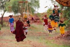 Burmese puppet. S at temple in Bagan stock photo