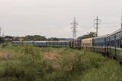Burmese railway and train. Yangon, Myanmar. View of the old train that makes the circular route in the city of Yangon, Myanmar stock image