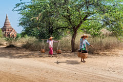 Burmese rural women at Bagan. Myanmar (Burma) Stock Photo
