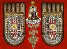 Buddhist Symbolism - Burmese Sand Painting - Burma stock photos