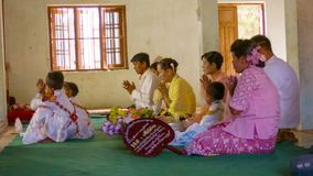 Burmese Shinbyu novitiation ceremony is tradition of Theravada Buddhism, referring to the celebrati stock footage
