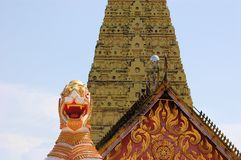 Burmese temple with lion in Sangkhlaburi, Thailand Stock Photography