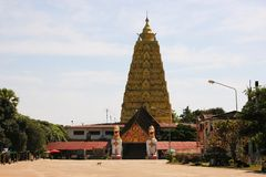 Burmese temple with lion in Sangkhlaburi, Thailand Stock Image