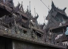Burmese temple roof wood carving Stock Photography
