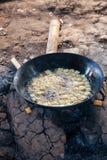 Burmese tofu frying, Inle Lake, Myanmar Stock Photo