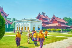 The Burmese tourists in traditional clothes, Mandalay, Myanmar royalty free stock image