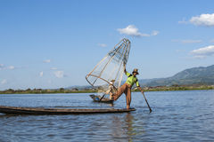 Burmese traditional fisherman. Royalty Free Stock Photography