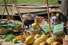 Burmese traditional open market with vegetable Royalty Free Stock Photography