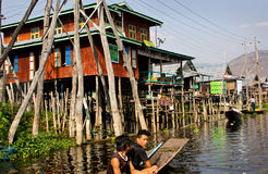 A Burmese village of Inle Lake in Myanmar Royalty Free Stock Image