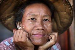Burmese woman in Mandalay, Myanmar Stock Images
