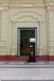 Burmese woman praying. Myanmar, Burma, Pyay, Burmese Buddhist woman praying Royalty Free Stock Images