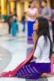 Burmese woman praying Buddha Royalty Free Stock Photo