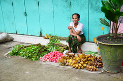 Burmese Woman selling fruit and vegetable at Oxen Market Royalty Free Stock Images