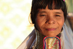 Burmese woman wearing neck rings Stock Photos