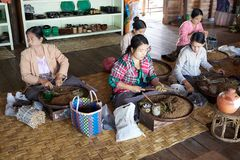 Burmese women are making a cigars Myanmar Stock Photography