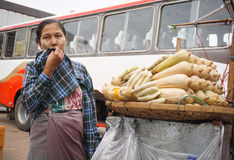 Burmese women selling foods at Bogyoke market Royalty Free Stock Photos