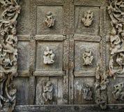 Burmese wooden carving wall Royalty Free Stock Photos