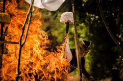 Burn. Balinese cremation ceremony Royalty Free Stock Image