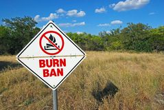 Burn Ban Sign Stock Photography