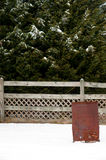 Burn barrel in the snow Royalty Free Stock Photography