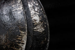 Burn black pan. grunge grease dirty Royalty Free Stock Photography