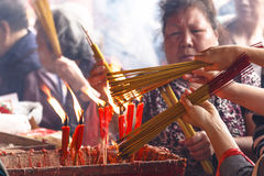 Burn candle and incense Royalty Free Stock Image