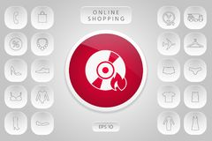 Burn CD or DVD icon. Element for your design Royalty Free Stock Image