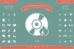 Burn CD or DVD icon. Element for your design . Signs and symbols - graphic elements for your design Royalty Free Stock Photo