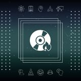 Burn CD or DVD icon. Element for your design Royalty Free Stock Photo