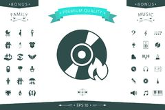 Burn CD or DVD icon. Element for your design Royalty Free Stock Images