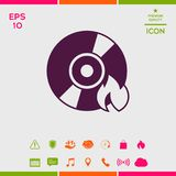 Burn CD or DVD icon. Element for your design . Signs and symbols - graphic elements for your design Royalty Free Stock Images
