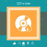 Burn CD or DVD icon. Graphic element for your design Royalty Free Stock Photos