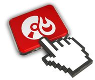 Burn CD Icon. 3D illustration Icon- Hand Cursor Click Royalty Free Stock Photos