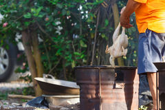 Burn chicken. A man burning a chicken for remove a feather before cooking,Local cleaning chicken in Thailand Royalty Free Stock Photos
