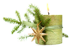 Burn Christmas candle, green ribbon, gold star Stock Image