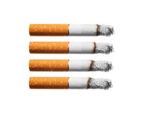 Burn cigarettes set on white background. Stock Photos