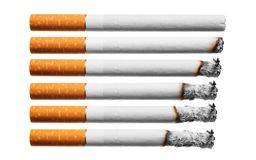 Burn cigarettes set on white background. Royalty Free Stock Photo