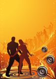 Burn the Club. Woman and man dancing in front of an abstract, burning club scene royalty free illustration