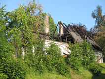 Burn damaged house Royalty Free Stock Images